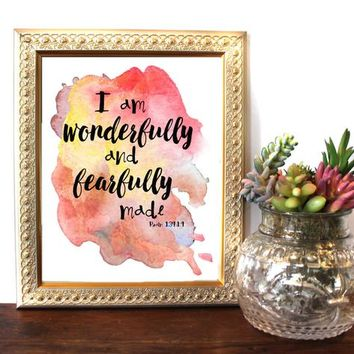 I am wonderfully and fearfully made, Psalm 139:14, Bible Verse Wall Art Scripture Print Christian wall decor,instant download, Bible Quote