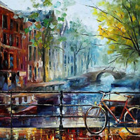 "Bicycle in Amsterdam — Oil Painting On Canvas By Leonid Afremov. Size: 30""x36"""