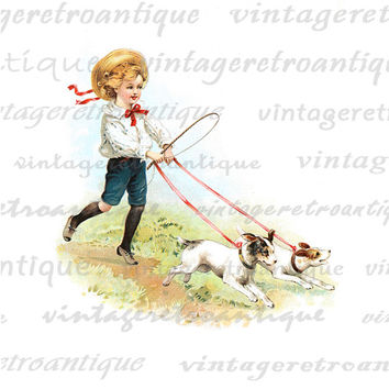 Printable Boy Walking Pet Dogs Digital Download Color Illustration Image Graphic Vintage Clip Art  HQ 300dpi No.2047