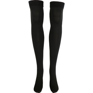 Solid Opaque Thigh High Socks in Brown