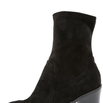 Opt In Black Suede High Heel Mid-Calf Boots