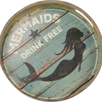 Mermaids Drink Free Tin Round Serving Tray - 12-1/2-in