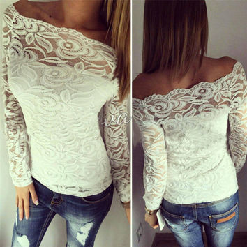 White Crochet Lace T Shirt