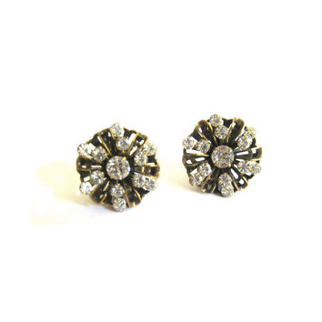 Round Brass Rhinestone Clip On Earrings