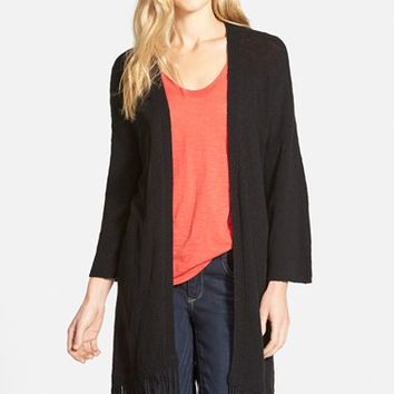 Women's Two by Vince Camuto Crinkle Yarn Cardigan with Faux Suede Fringe,