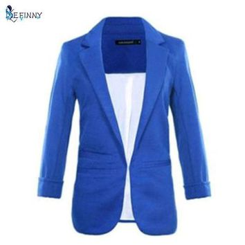 Women Casual Slim Suit Blazer Jacket Coat 3/4 Sleeve Outwear Business Blazer