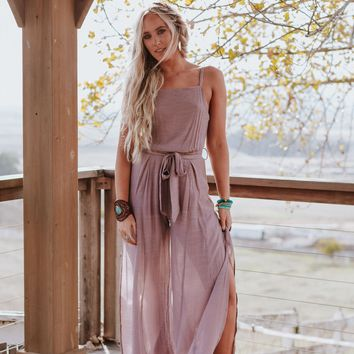 Piper Side Slit Jumpsuit - Mauve