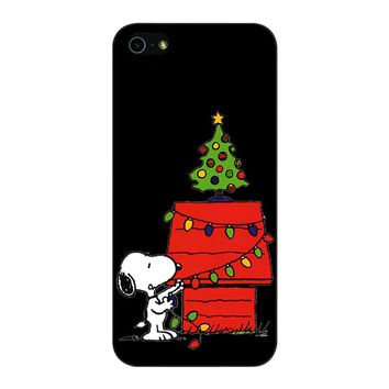 Snoopy And Christmas Tree - Black iPhone 5/5S/SE Case
