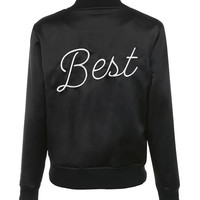 'Best' Black Satin Bomber Jacket - Mistress Rocks