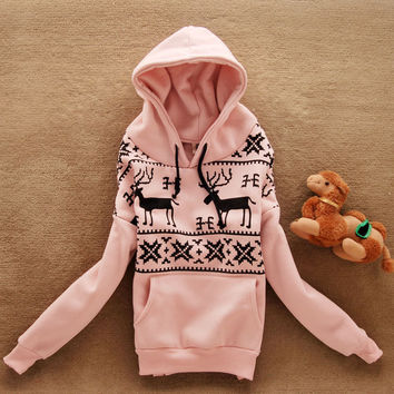 Leisure Cute Deer Snow Pattern Hoodies Hooded Sweats Outerwear Christmas