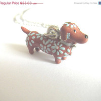 VALENTINES DAY SALE Dachshund jewelry brown and blue sausage dog weiner charm silver necklace