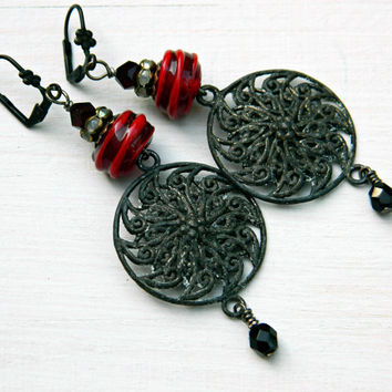 Red Boho Lampwork earrings with patinated charms, Rustic gypsy earrings, Black and Red Gothic earrings, Bohemian glass bead earrings, OOAK