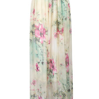 Multicolor Floral Print Pleated Boho Maxi Skirt