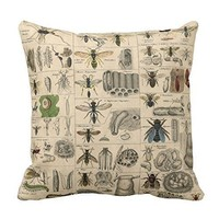 pillow perfect Decorative Cotton 18 X 18 Twin Sides Vintage Insects Entomology Reversible Cotton Throw Pillowcases