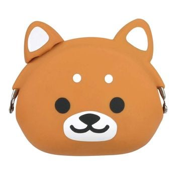 Shiba Puppy Dog Shaped Mimi Pochi Animal Friends Silicone Clasp Coin Purse Pouch