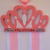 Pink Princess Crown Hair Bow and Clip Holder From Funny Girl Designs