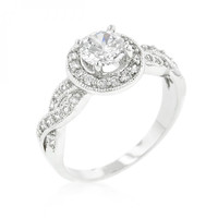 Round Cut Halo Engagement Ring (size: 08)