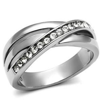 Promises – FINAL SALE Triple overlapping band multiple top grade crystals silver stainless steel ring