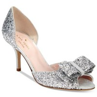 kate spade new york Sela Glitter Open-Toe Pumps | macys.com