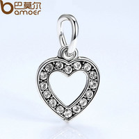 2017 New Good Quality Silver Color Heart Charm European Charms for Bead Bracelet Bangles DIY Accessories PA5294