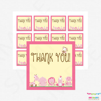 Pink Safari Baby Shower Favor Tags, Girl Baby Shower Decor, Jungle Baby Shower Favors, Gift Tags, Thank You Favor Tag Baby Shower BS0001-P