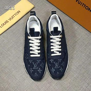 LV Louis Vuitton new classic low-cut lace denim old casual men's sports shoes blue