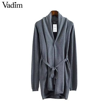 Vadim women solid long knitted basic cardigan sweater open stitch bow sashes long sleeve loose outwear coats mujer SW1242