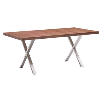 Renmen Dining Table Walnut Brushed Stainless Steel