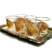 Mid Century Gold Barware Sophisticated Vintage Glasses Gold Rocks Glasses Cocktail Glasses Low Ball Glasses Set of 6 Gift Idea
