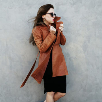 70s Leather Trench Style Jacket, Soft Tan/Carmel Coat