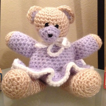 Crochet Teddy Bear In Tutu by langanfamilyfinds on Etsy