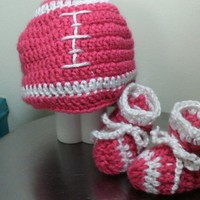 Infant Girl's Football Hat and Booties