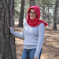 Hooded Scarf - Crochet -  Women or Teen - Coral Red - Celtic Hooded Scarf