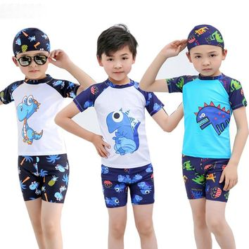 3pcs Boys Swimwear Swimsuit Trunks Caps Summer Baby Kids Swimsuits Swimming Clothes Beach Surfing Bathing Suits 2-12 Years