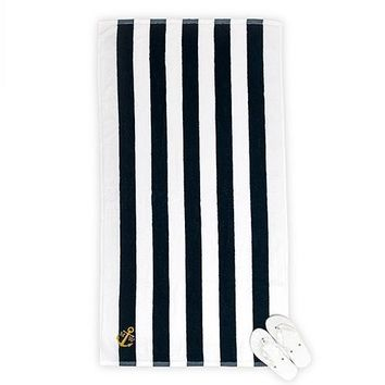 Navy Striped Terry Beach Towel (Pack of 1)