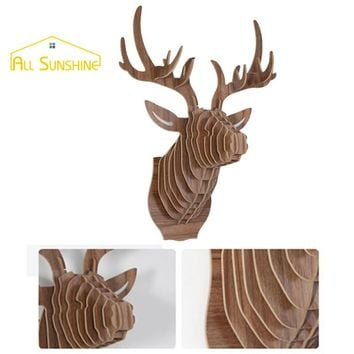 3D Puzzle Wooden Elk Deer Head Wall Hanging Decoration DIY Wall Sticker Animal Sculpture Craft Home Decoration