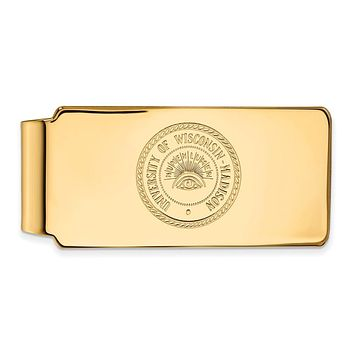 NCAA 14k Gold Plated Silver U of Wisconsin Money Clip