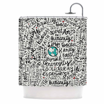 "Pom Graphic Design ""Positive World"" Teal Black Shower Curtain"