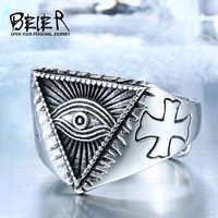 BEIER Stainless Steel Man's All-see Eye Ring For Men Fashion Cool  Cross Eye Open Vintage Jewerly Punk Style BR8-176