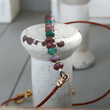 Fancy Jasper and natural leather simple bar necklace, Simple gemstone and leather necklace, gemstone bar necklace