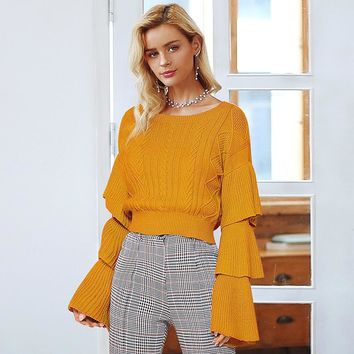 Elegant layered flare sleeve knitted sweaters
