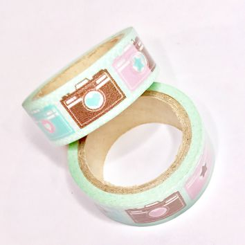 Aqua green & pink camera 15mm washi tape / 5M
