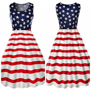 New American Independence Day Flag vest striped dress