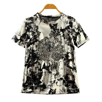 DCCKIX3 Summer Korean Stylish Lace Embroidery Peacock Vintage Silver Short Sleeve T-shirts [4919412292]