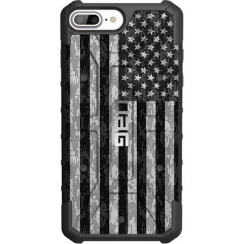 """LIMITED EDITION - Authentic UAG- Urban Armor Gear Case for Apple iPhone 8 PLUS/7 PLUS/6s PLUS/ 6 PLUS (Larger 5.5"""") Custom by EGO Tactical- USA Subdued Digital Camouflage Flag"""