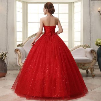 Sweet Romantic Classic Lace Red Princess Wedding Dress Strapless Wedding Gown