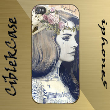 custom design lana del rey paint hard plastic available for iphone 4/4s,5/5s/5c and samsung galaxy S3/S4/S5 case
