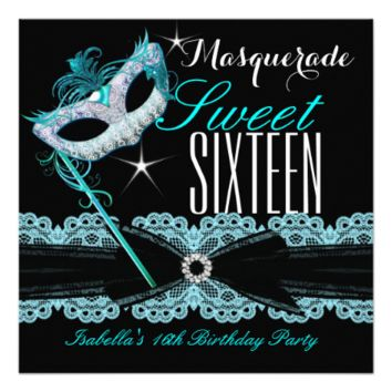 Masquerade Sweet Sixteen Sweet 16 Teal Blue 5.25x5.25 Square Paper Invitation Card
