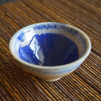 Tiny blue bowl, miniature ceramic bowl, handmade, blue ceramic bowl, blue pottery bowl