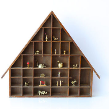 WOODEN DISPLAY CASE, Swiss House Shaped Shelf, Shadow Box, Treasure Display, Printers Drawer, Kids Room Decor, Handmade in Switzerland